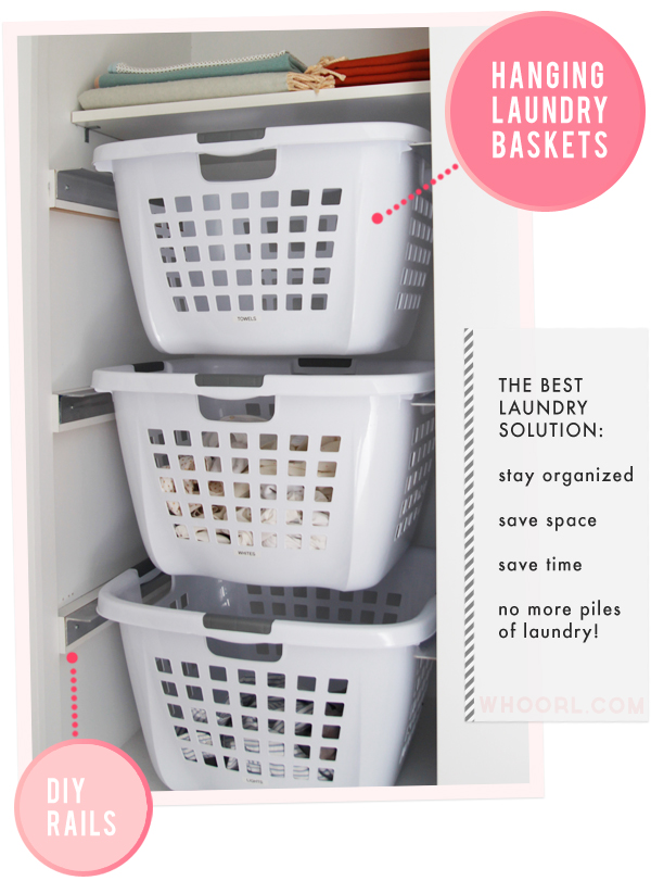 hanging laundry basket tutorial