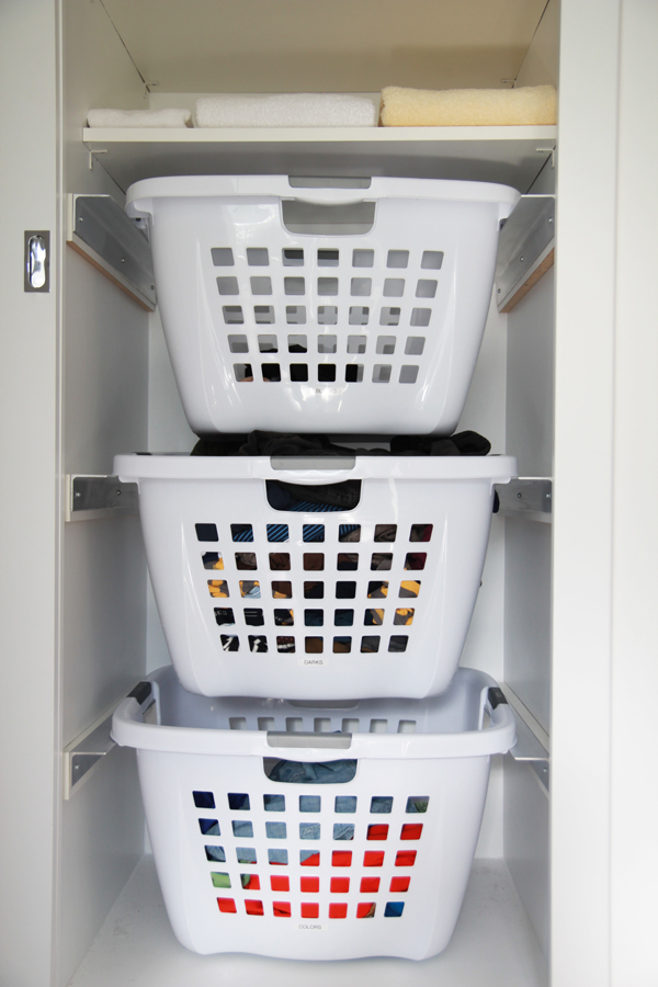 hanging laundry basket tutorial in closet hamper ideas