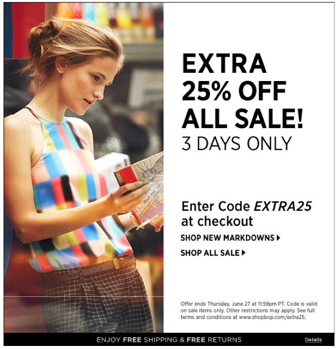 shopbop 25 off sale